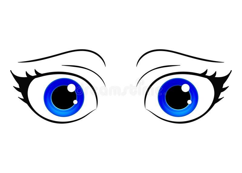 亚洲eps注视格式JPG manga样式向量 动画片样式女性眼睛 五颜六色的明亮的眼睛 芳香树脂manga样式手拉的女孩眼睛 被隔绝的传染媒介 库存例证