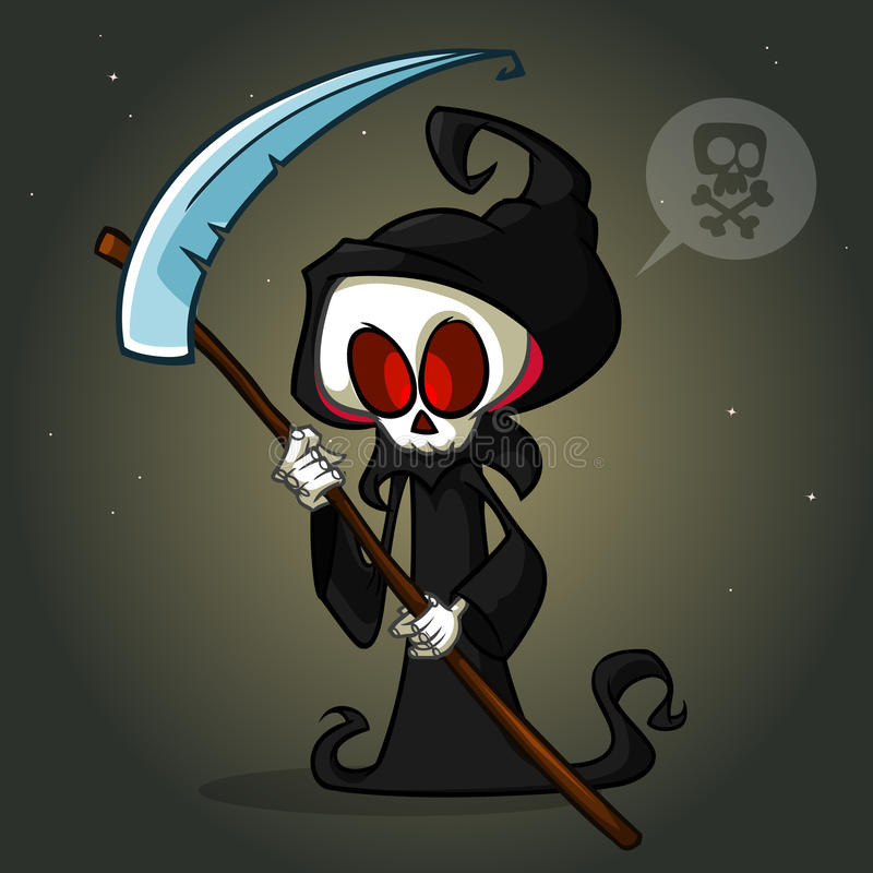 即将死亡的人头像_死亡与大镰刀的漫画人物在白色背景 在黑敞篷的逗人喜爱的死亡字符