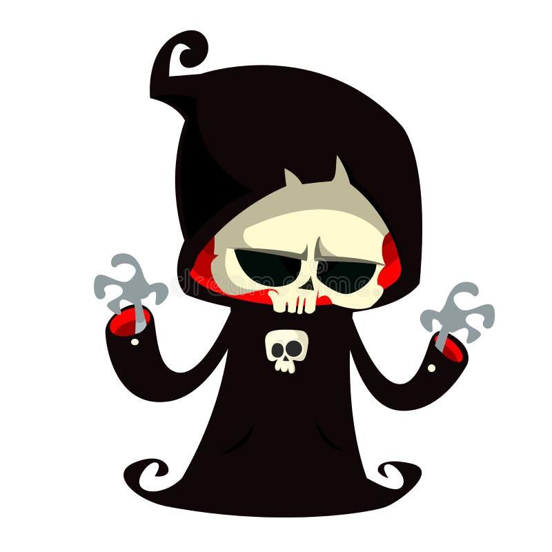 死亡在白色背景隔绝的漫画人物 在黑敞篷的逗人喜爱的死亡字符 皇族释放例证