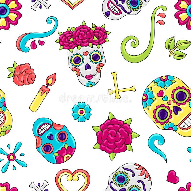 亡灵节无缝的样式 有花饰的糖头骨 库存例证