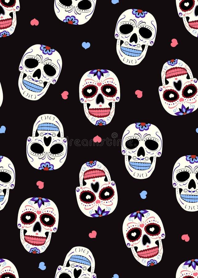 亡灵节有花饰和花无缝的样式的糖头骨在黑背景 万圣节头骨 库存例证