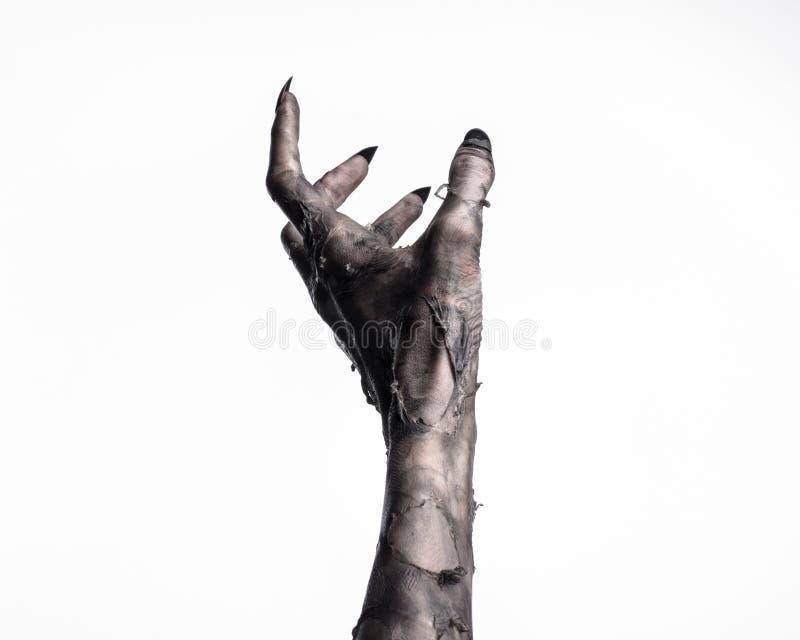 死亡,走的黑手党死,蛇神题材,万圣夜题材,蛇神手,白色背景,妈咪手 库存图片