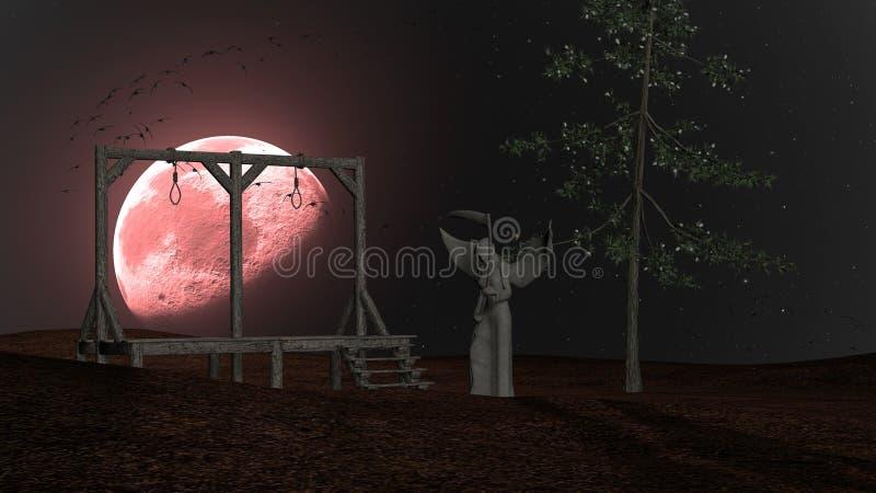 死亡-与绞架、乌鸦和红色月亮的鬼的夜背景天使  皇族释放例证