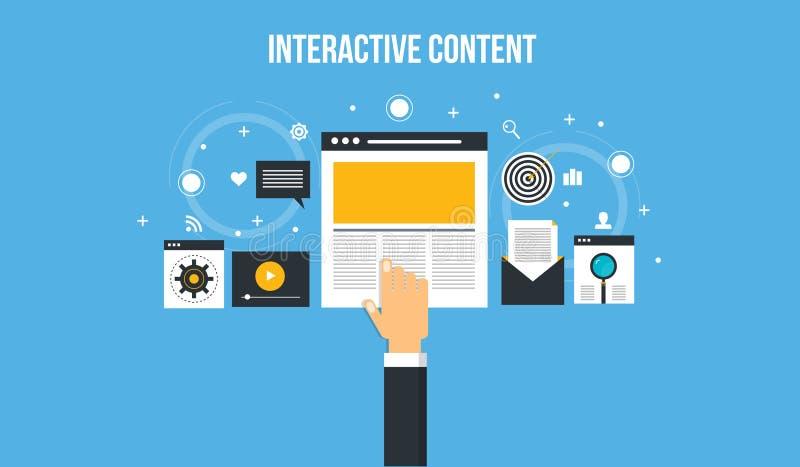 交互式内容-观众经验 美满的营销横幅 向量例证