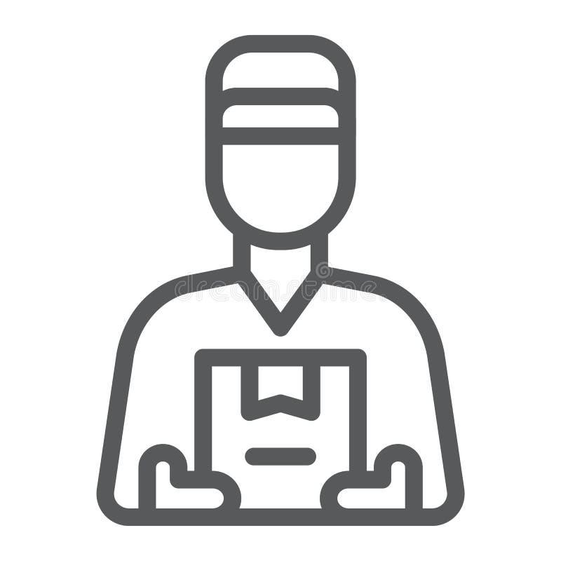 交付传讯者线象、运输和后勤学,提供人标志,向量图形,一个线性样式 向量例证