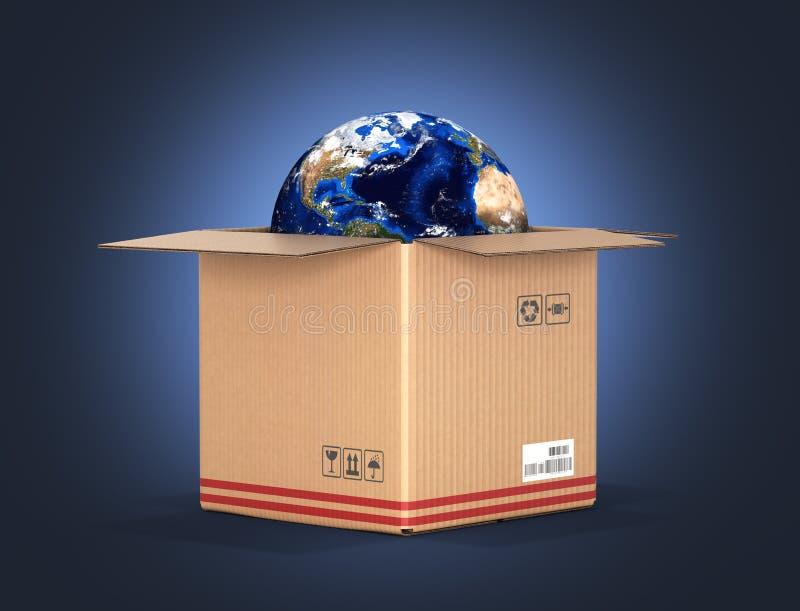交付和购物的地球的概念在一个纸板箱在深蓝梯度背景3d 皇族释放例证