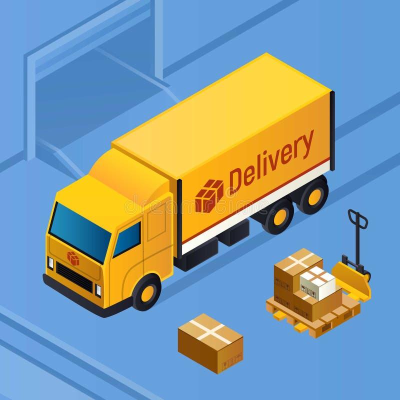 交付小包卡车概念背景,等量样式 皇族释放例证
