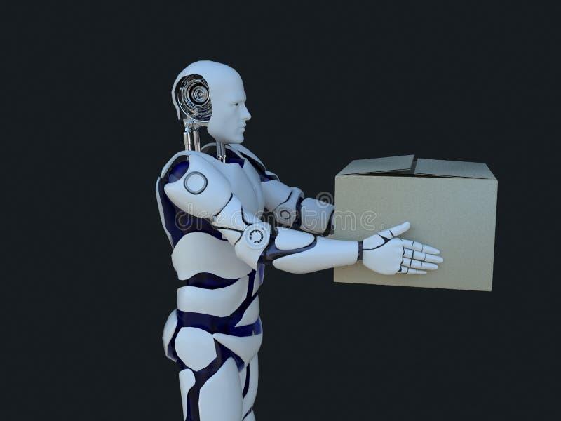交付箱子的白色机器人技术 技术在将来,在黑背景 皇族释放例证