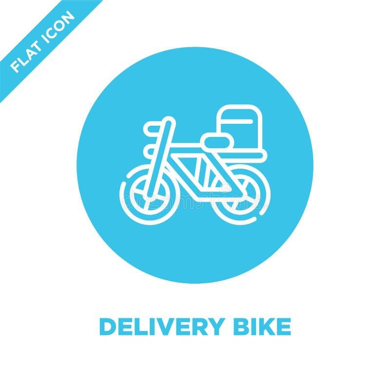 交付自行车象传染媒介从拿走汇集 稀薄的线交付自行车概述象传染媒介例证 线性标志为 向量例证
