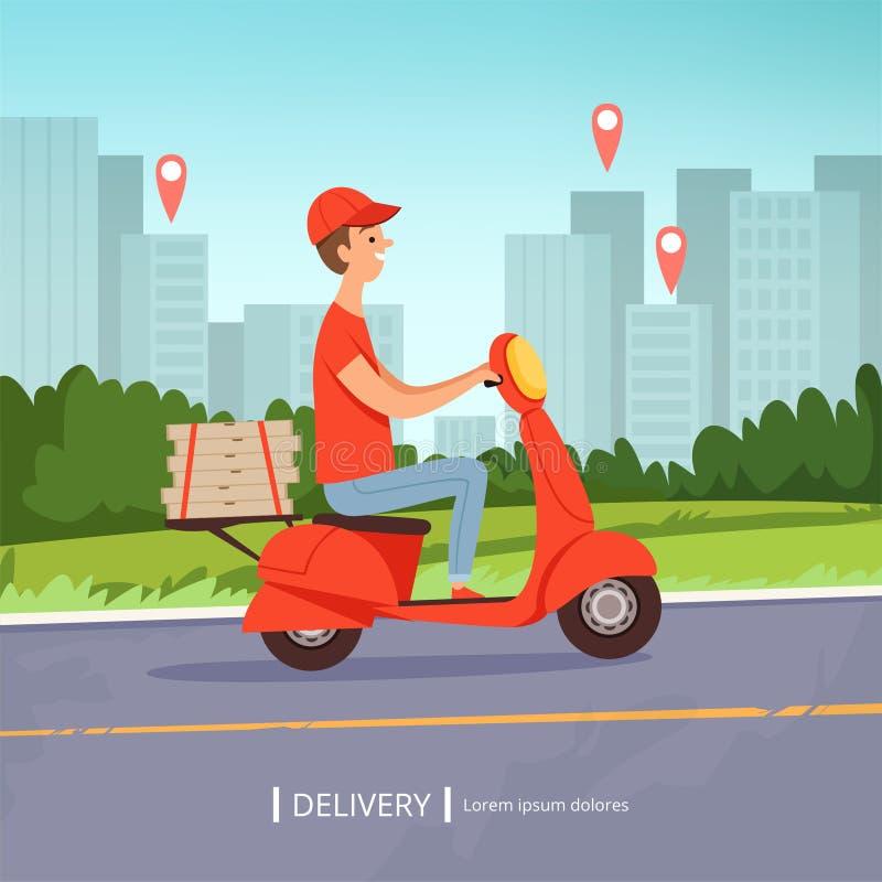 交付薄饼背景 新鲜食品快速的送货人红色摩托车完善的经营业务都市风景 向量 向量例证