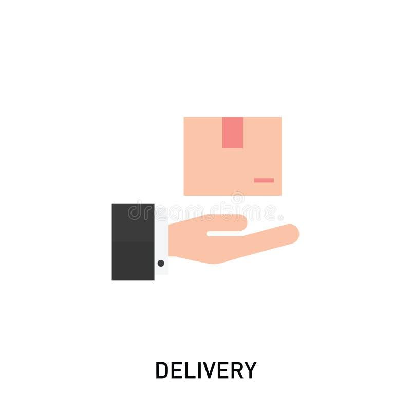 交付象 拿着箱子的手 在现代平的样式的传染媒介例证 向量例证