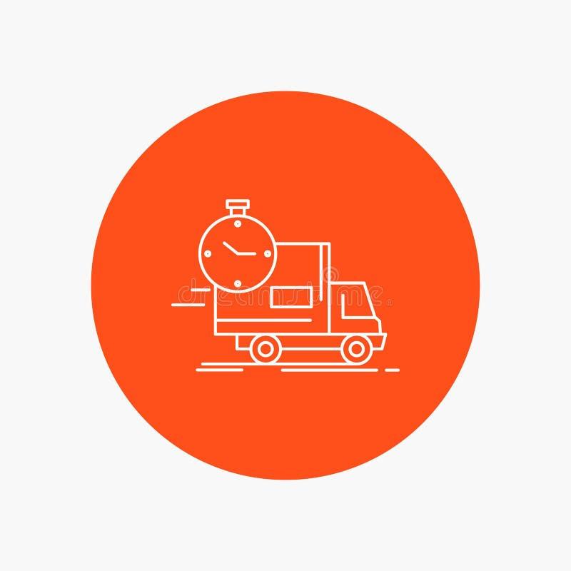 交付,时间,运输,运输,卡车空白线路象在圈子背景中 r 皇族释放例证