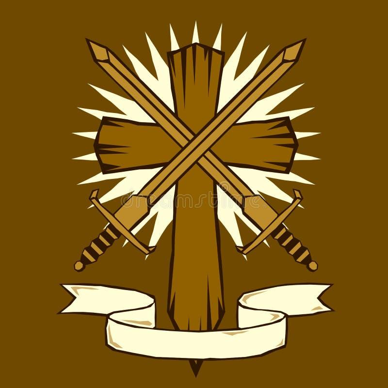 交叉剑木刻 皇族释放例证