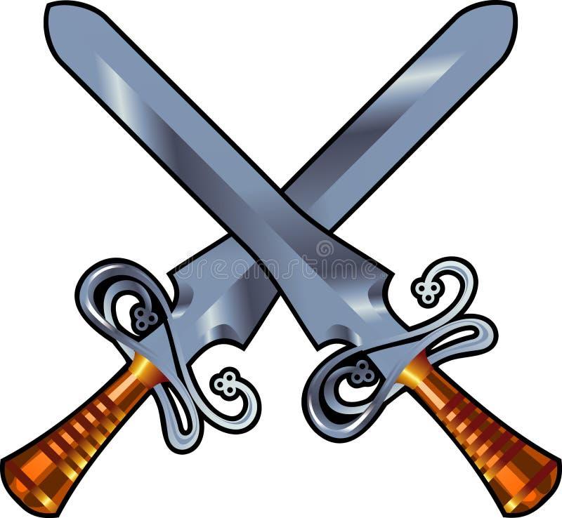 交叉剑 向量例证