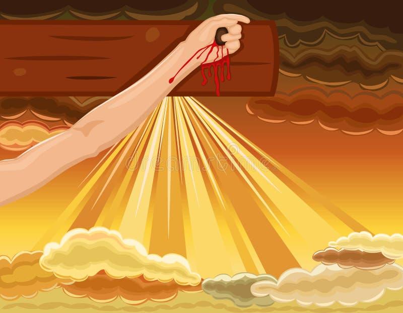 交叉在十字架上钉死现有量耶稣被固定 库存例证