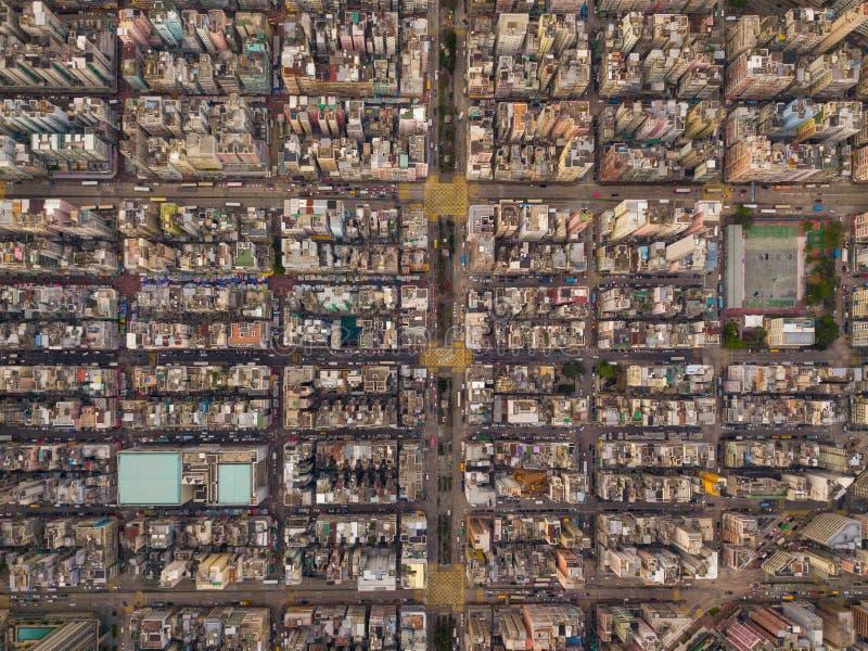 交叉点或连接点鸟瞰图在假货水Po,华家堡,香港街市 财政区和事务 库存图片