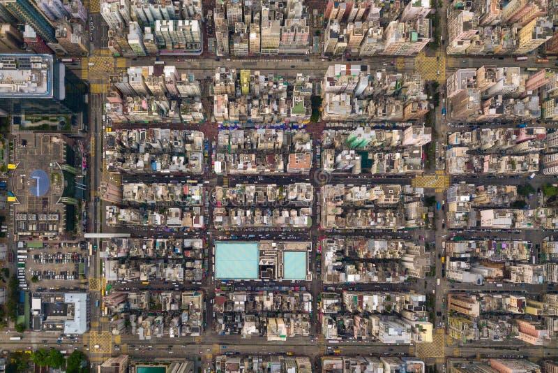 交叉点或连接点鸟瞰图在假货水Po,华家堡,香港街市 r 库存照片