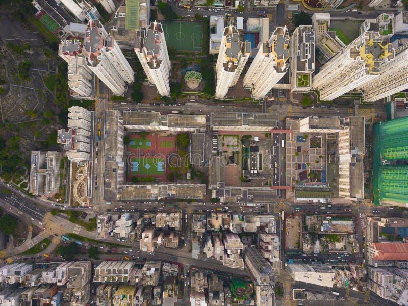 交叉点或连接点鸟瞰图在假货水Po,华家堡,香港街市 r 图库摄影