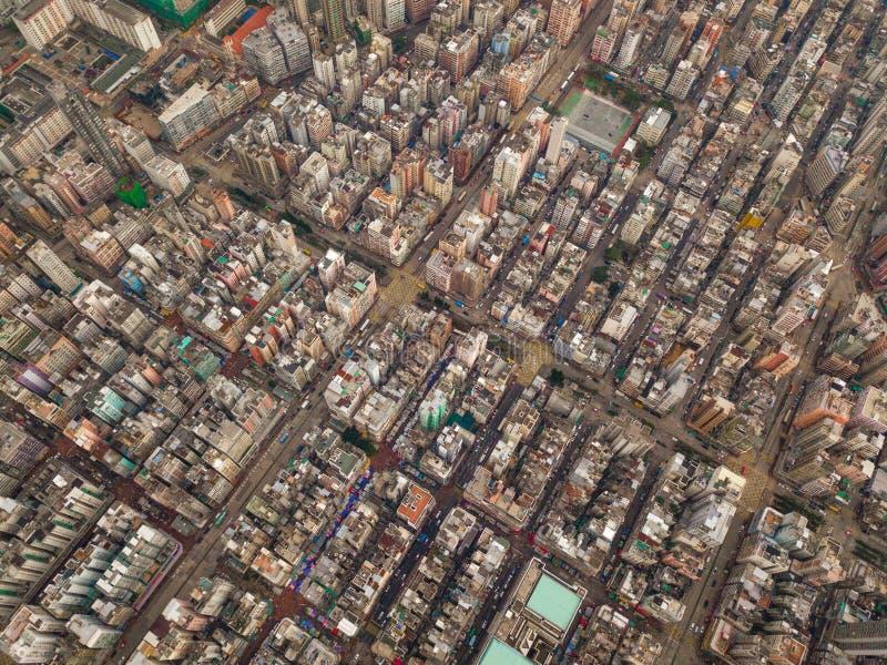 交叉点或连接点鸟瞰图在假货水Po,华家堡,香港街市 r 库存图片