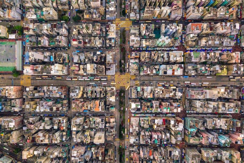 交叉点或连接点鸟瞰图在假货水Po,华家堡,香港街市 r 免版税库存照片