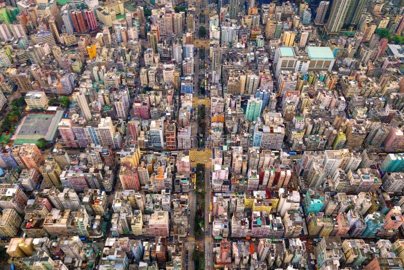 交叉点或连接点鸟瞰图在假货水Po,华家堡,香港街市 r 免版税库存图片