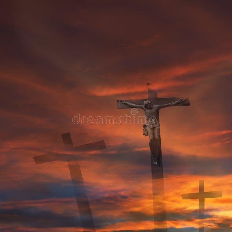 交叉神耶稣宗教信仰 库存例证