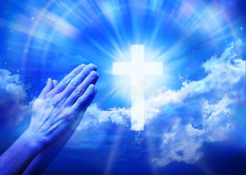 交叉祷告祈祷的宗教信仰 免版税库存图片