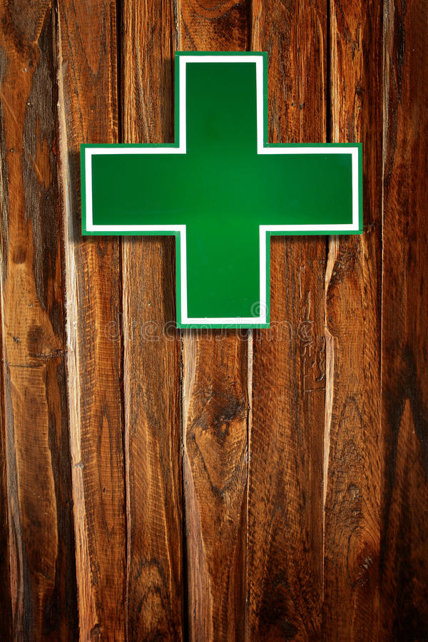 交叉绿色医疗符号 免版税库存图片