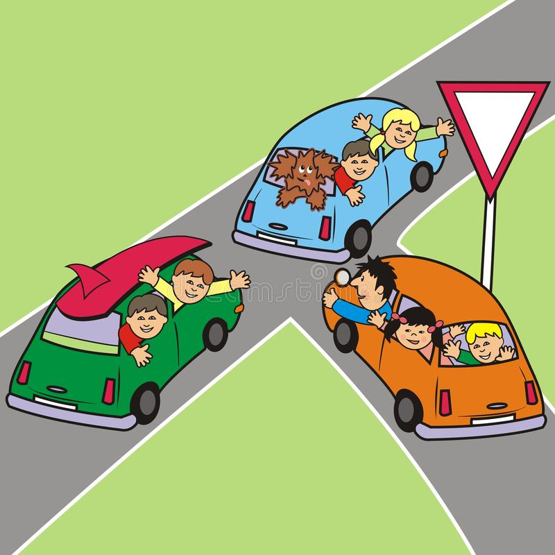 交叉路、三辆汽车和人们,家庭度假 皇族释放例证