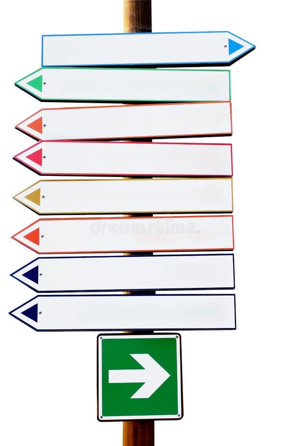 交叉路多色定向箭头标志 库存照片