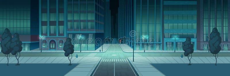 交叉路夜城市,空的运输交叉点 库存例证