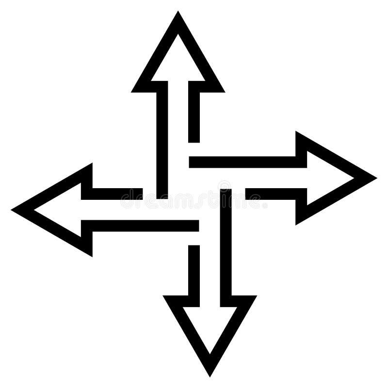 交叉路箭头表明道路,传染媒介平的方向箭头,快速的信息传递的概念 皇族释放例证