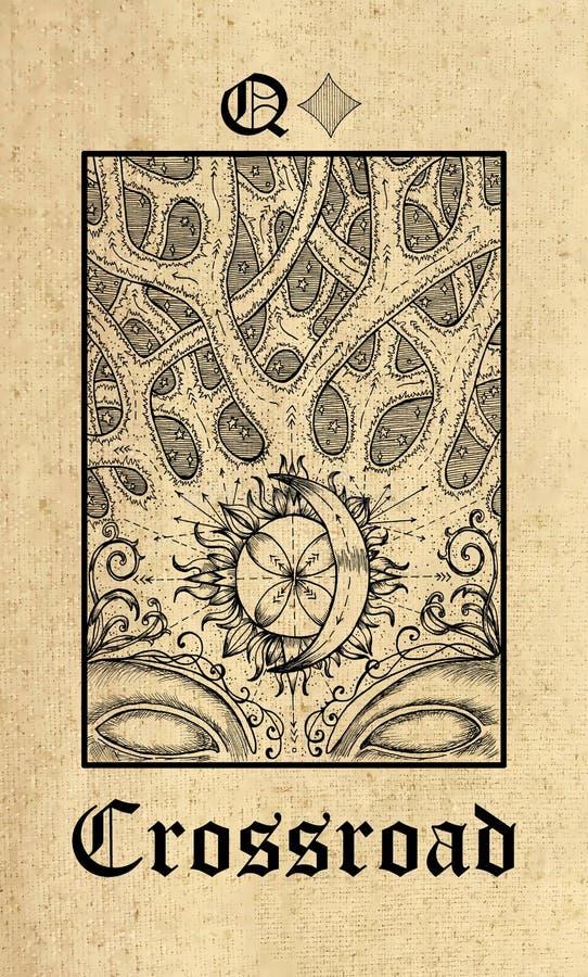 交叉路 从Lenormand哥特式奥秘oracle甲板的占卜用的纸牌 皇族释放例证