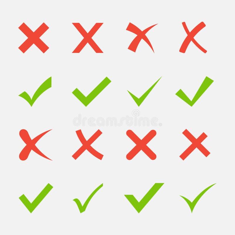 交叉绿色红色滴答声 皇族释放例证