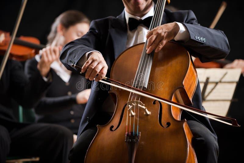 交响乐团表现:celloist特写镜头 库存照片