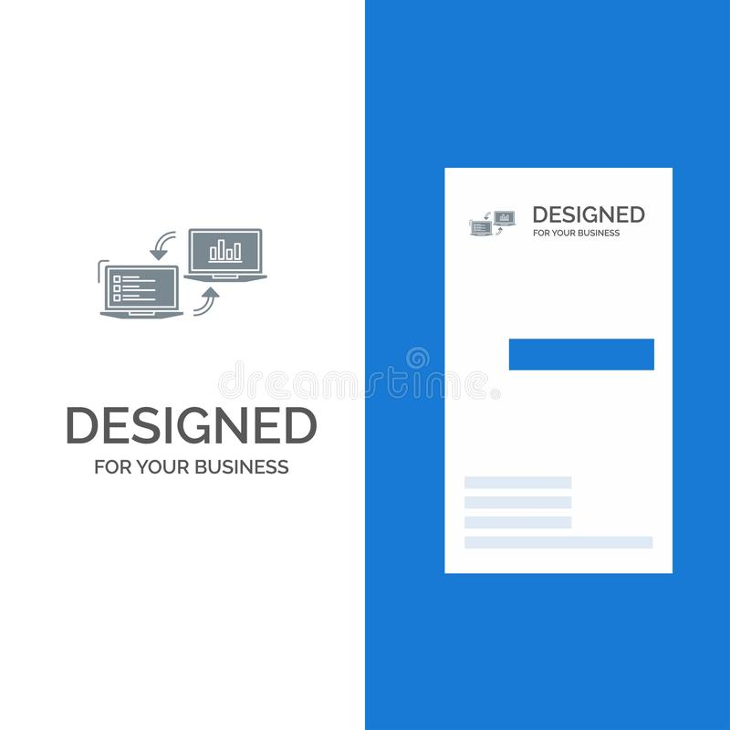 交换、事务、Completers、连接、数据、信息灰色商标设计和名片模板 库存例证