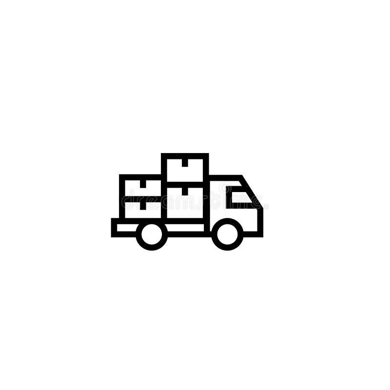 交换与堆的移动的包裹象纸板箱标志 交付和拆迁概念 简单的干净的稀薄的概述样式d 皇族释放例证