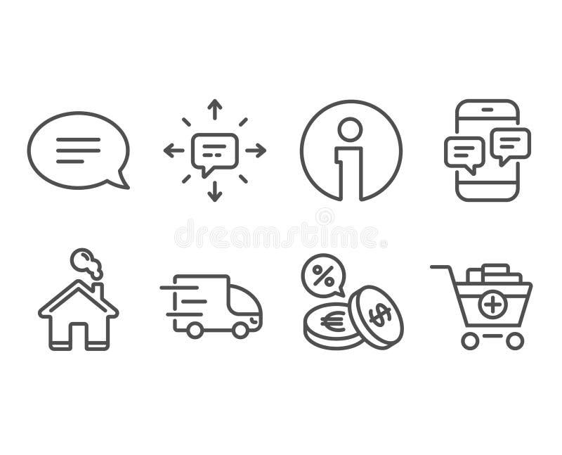 交换交付、电话留言和汇兑象 Sms,闲谈和增加产品标志 向量例证