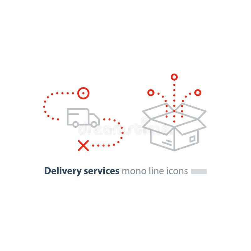 交换交付并且把包裹,运输用户线路象装箱 皇族释放例证