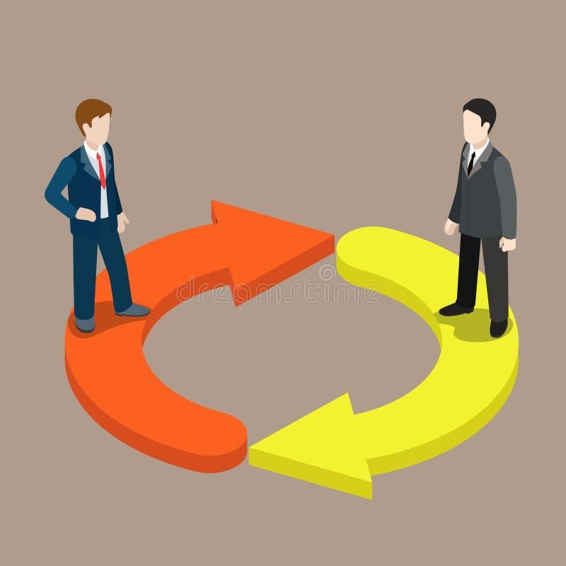 交换职员变动管理平的3d等量传染媒介 库存例证