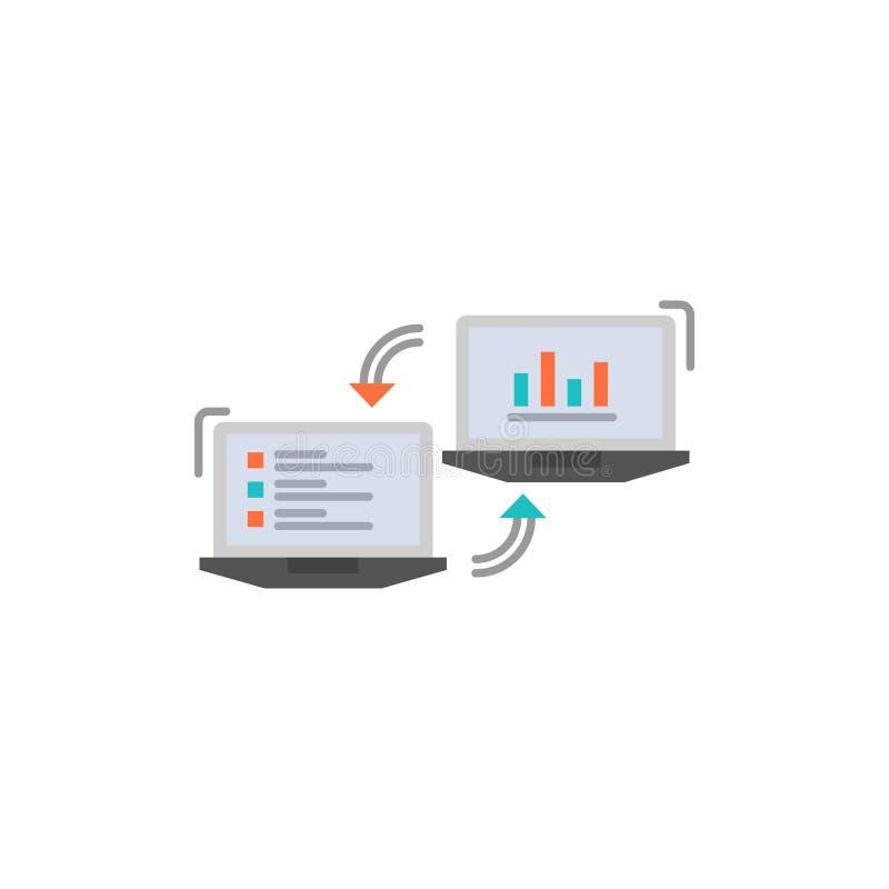 交换,事务,Completers,连接,数据,信息平的颜色象 传染媒介象横幅模板 库存例证