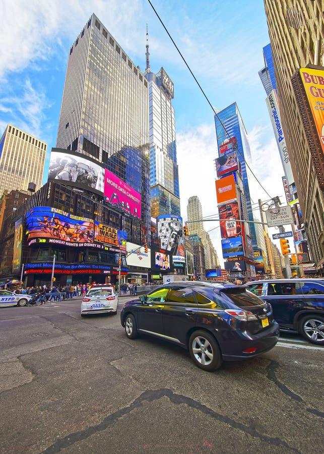交易在第7大道和百老汇在时代广场 免版税库存图片