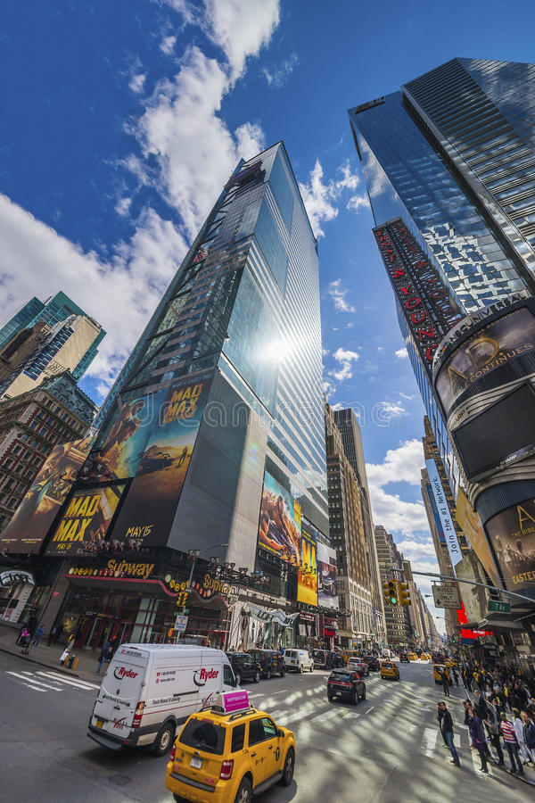 交易在第7 Ave和百老汇在时代广场 免版税库存图片