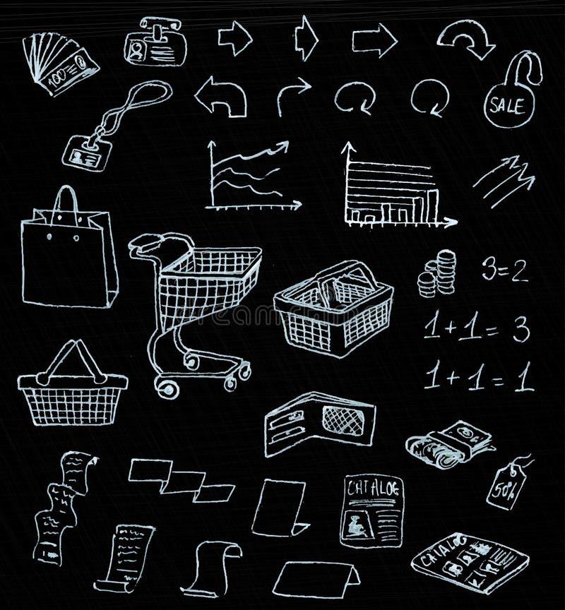 交易市场在黑板的购物乱画 向量例证