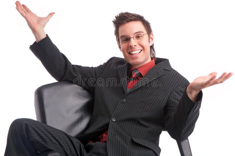 交易愉快的经理人员强大成功 免版税库存图片