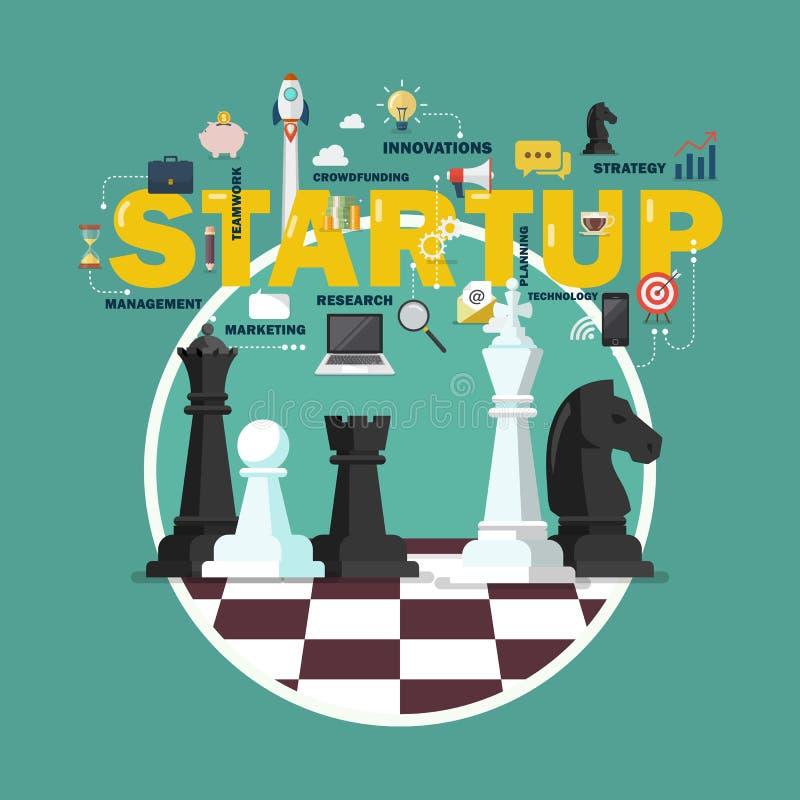 交易起步与棋形象的战略概念在棋盘 皇族释放例证