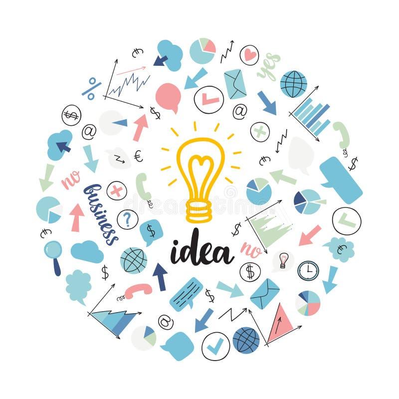 交易起步创造性的背景  概念查出的技术白色 想法电灯泡 想法的平的五颜六色的设计观念 皇族释放例证