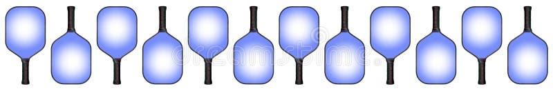 交替12支蓝色Pickleball的桨&下来 库存图片