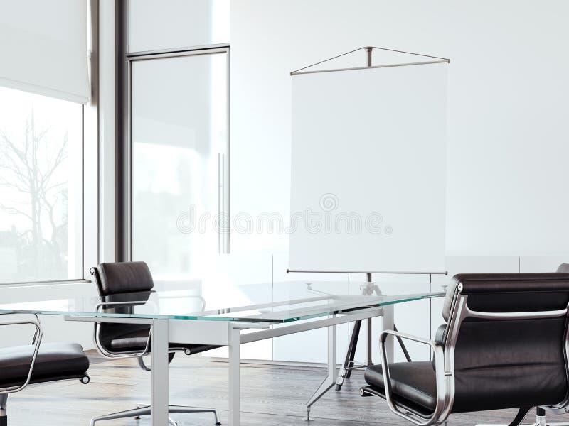 交涉的现代办公室与卷起屏幕 3d翻译 向量例证
