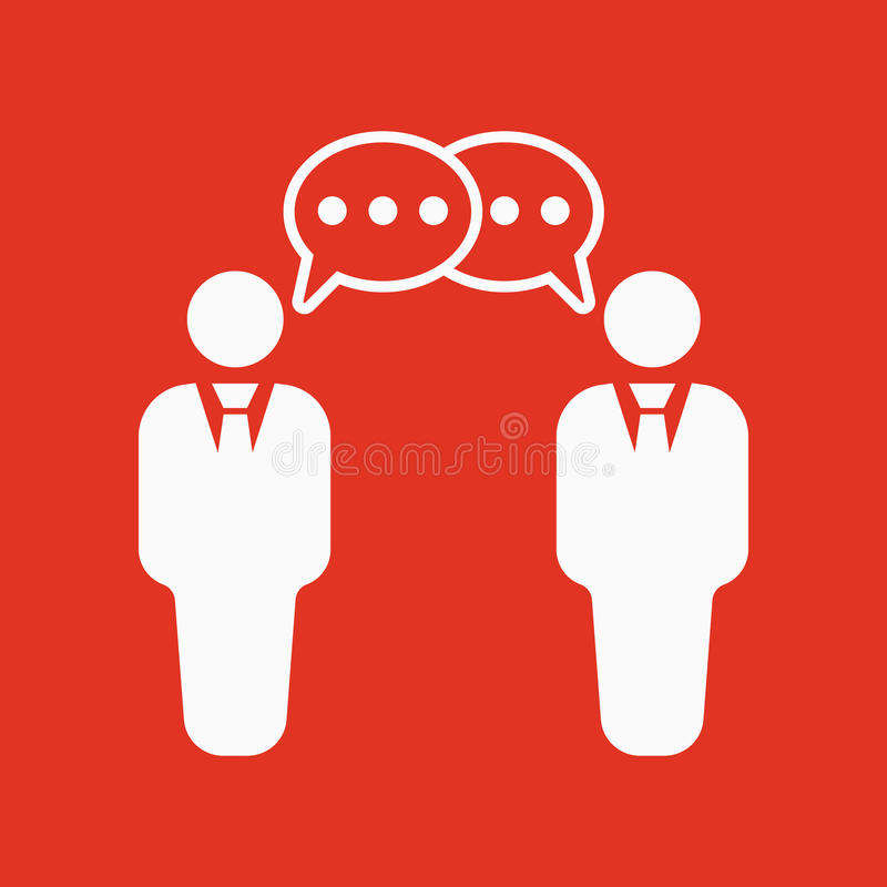 交涉象 辩论和对话,讨论,交谈标志 平面 库存例证